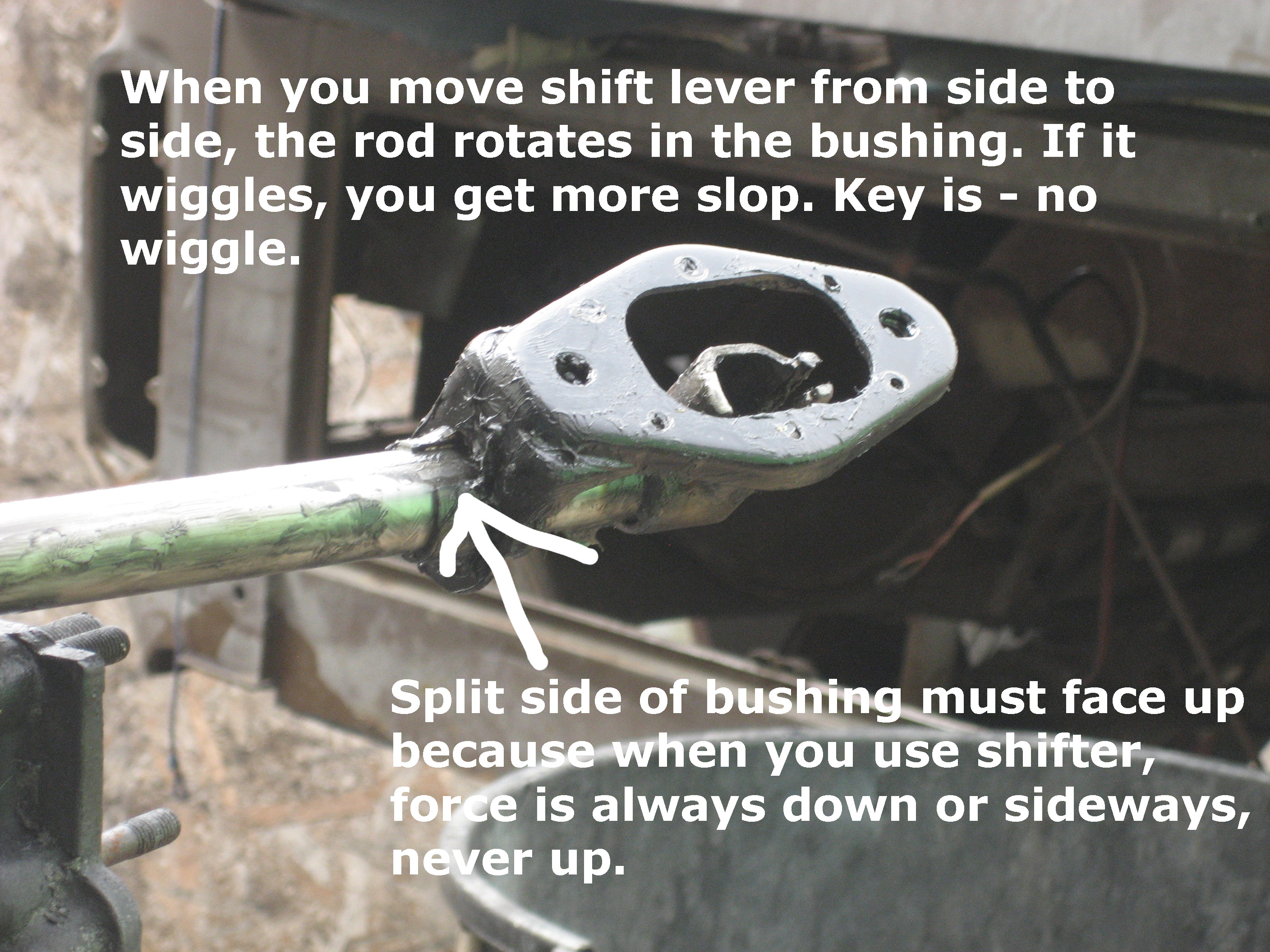How to install a shift bushing so the shifter is as tight as it was